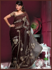 China DESIGNER SAREES Coffee Brown Style Saree on sale