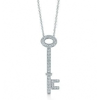 China Tiffany Keys oval key pendant with diamonds in platinum on a chain on sale
