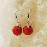 Sterling Silver Beautiful red coral beads earring
