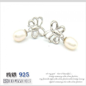 China Film Television Jewelry Silver earring stud butterfly pearl beads on sale