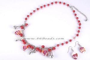 China GSET130 oval alloy and lampwork glass beads jewelry set on sale