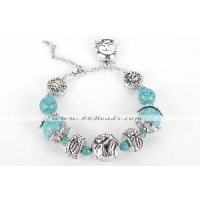 AHB56 vintage oval alloy with turquoise beads bracelet dangle skull