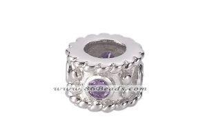 China SSP197 cylinder 925 sterling silver European beads with cubic zircon on sale