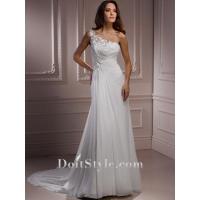 Wedding Dresses Sheath/ Column One-shoulder Chiffon Wedding Dress