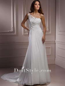 China Wedding Dresses Sheath/ Column One-shoulder Chiffon Wedding Dress on sale