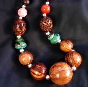 China Semi-Precious Stones, Wood, Silver Necklace (France) on sale