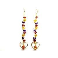 China 18K Yellow Gold Earrings Handmade Jewelry In Garnet,Citrine And Amethyst Beads And Citrine Drop. on sale