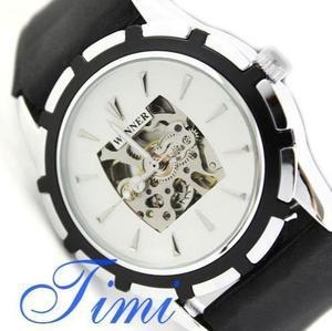 China Mens Automatic Watch Silver Skeleton Black Rubber Band on sale