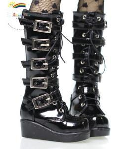 China SD Dollfie Shoes Emo Buckles Lace-Up Boots Patent Black on sale