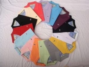 China lots 10pcs lacoste mens new Polo Shirt solid color on sale