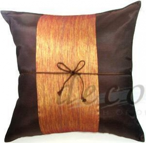 China Silk Decor Pillow Covers - Brown with Middle Stripe on sale