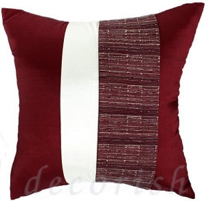 China MAROON & CREAM Silk Throw Pillow Covers with 2 Tone Middle Stripe on sale