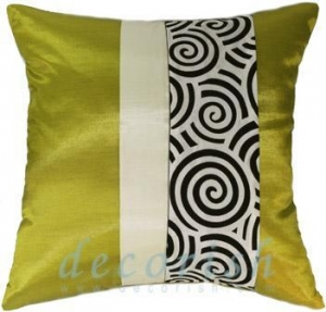 China Silk Pillow Cover LIME & CREAM Silk Decorative Pillow Cover with 2 Tone Spiral Middle Stripe on sale