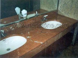 China Vanity Tops Rojo Alicante Marble Vanity Top on sale