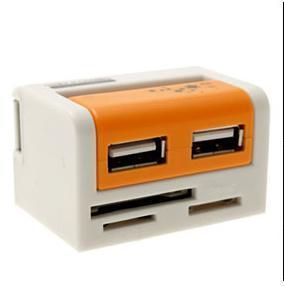 China Mini 2 Port USB 2.0 Hub with SD/MMC Micro/SD M2 MS on sale