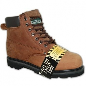 China Dark Brown Leather Steel Toe Work Boot on sale
