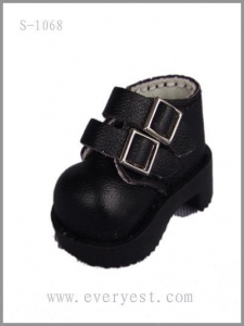 China Fashion simple style black leather BJD doll shoes on sale