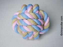 China 3 assorted Solid Cotton Rope Dog Toy Ball Rope Toy on sale