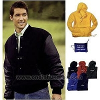 Half-zip nylon Anorak jacket that folds into a travel pouch.