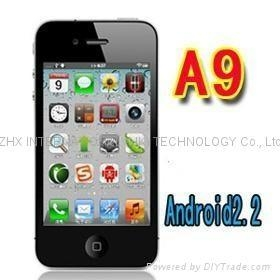 China iphone 4 copy A9 Google android 2.2 GPS wifi 3.5 Super Amoled mobile phone on sale