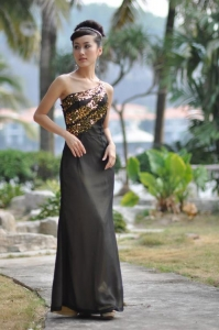 China 4004# The most popular one shoulder prom dresses on sale