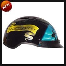 China DOT Blue Cross Shorty Motorcycle Helmet on sale