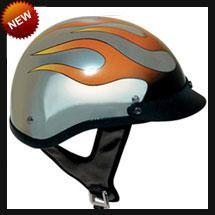 China DOT Chrome Flame Shorty Motorcycle Helmet on sale