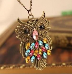 China European and American fashion retro owl long diamond necklace on sale