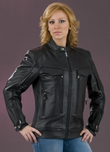 China Leather Apparel and Accessories Ladies Vented Scooter Jacket on sale
