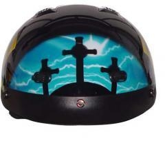 China DOT VENTED BLUE CROSS CHRISTIAN MOTORCYCLE HALF HELMET BEANIE HE on sale