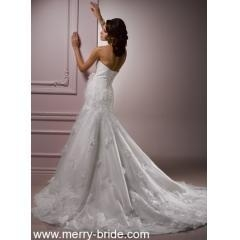 China Organza Ivory Wedding Dresses With A-line Skirt Style 0057 on sale