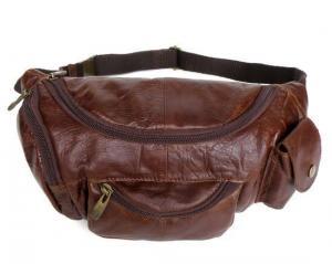 China 2068 Genuine Leather Unique Style Men's Waist Bag Fanny Pack Purse on sale