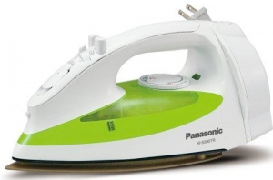China Irons Panasonic NI-S300TR 1200-Watt Steam Iron with Curved Titanium-Coated Soleplate, White/Green on sale