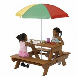 China Childrens Rectangular Picnic Table with Parasol on sale