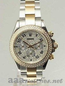 China Rolex Daytona 18K & SS Case Iced Dial Arabic Numerals Hour Markers Double Diamond Bezel - Men on sale