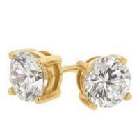 Gold Cubic Zirconia Stud Earrings