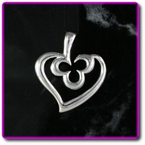 China Shamrock Sterling Silver Heart Pendant on sale