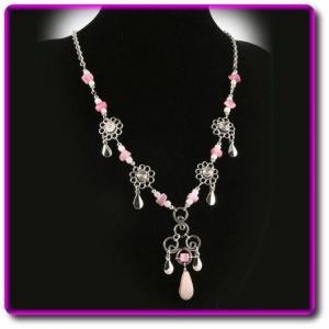 China Peruvian Necklace with Rose Quartz Stones on sale