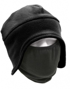 China Cold Weather Fleece Cap w/Face Mask Black on sale