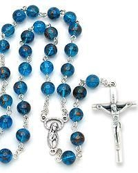 China Rosary, Blue Glass Beads on sale