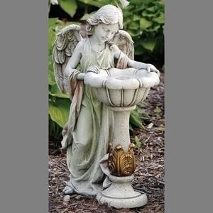 China GIRL ANGEL WITH SOLAR LIGHT BIRDBATH on sale