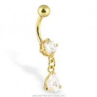 Body Jewelry: 24K gold plated belly button ring with dangling teardrop