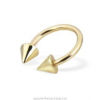 Body Jewelry: 14K solid yellow gold circular barbell with cones