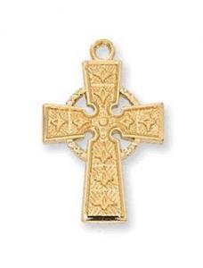 China Small Gold Irish Celtic Cross Necklace on sale
