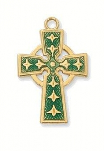 China Small Green Enamel Irish Celtic Cross Necklace on sale