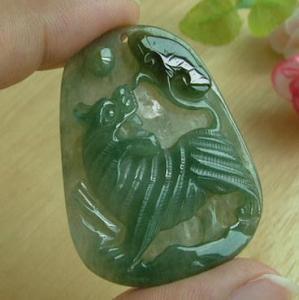 China Green Jade Jadeite Carved Tiger Ruyi Pendant on sale