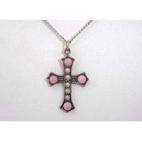 China Vintage Silver Seed Pearl Glass Cabochon Cross Necklace on sale
