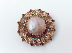 China Vintage Pink Rhinestone Faux Pearl Weiss Brooch Pin on sale