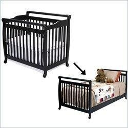 China DaVinci Emily Mini 2-in-1Convertible Wood Baby Crib Set With Bed Rail in Ebony on sale