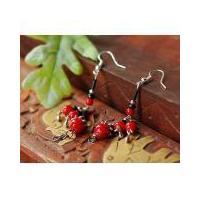 Tibetan Red Coral Bead earing